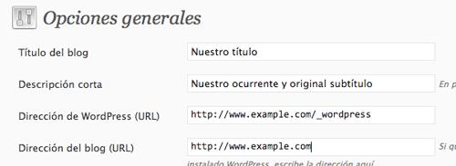 Opciones generales de WordPress